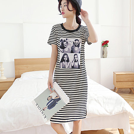 宽松短袖女潮流T恤裙条纹打底裙女连衣裙