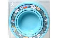 猫用食盆 嵌条树脂圆形碗 多种花色可选