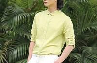 棉麻衬衫小领修身纯色亚麻休闲长袖薄款