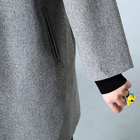 双排扣纯色大衣