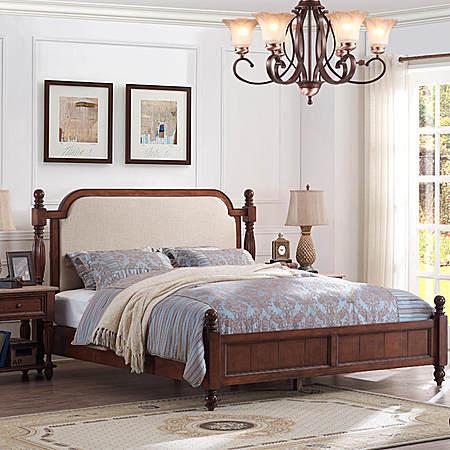 美式实木床布艺实木双人床美式床布艺床