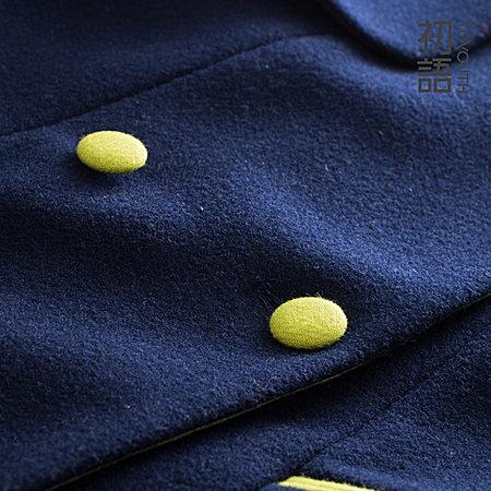 秋装风琴片毛呢外套中长款简约呢大衣