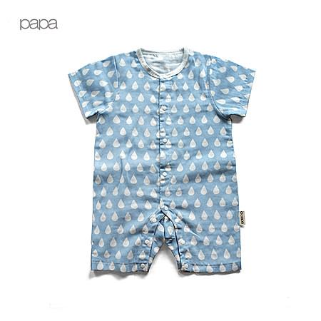 夏装纯棉纱布婴儿中开扣短袖爬服 宝宝连体衣