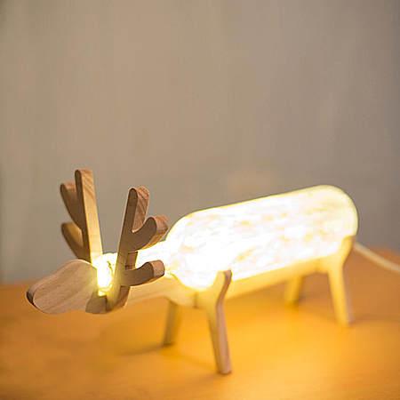 北欧风台灯 手工宜家台灯小鹿木架夜灯