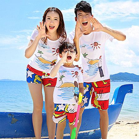 一家三口2017夏季新款韩版沙滩亲子装