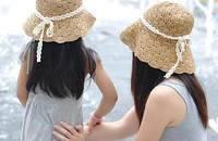 韩国亲子款草帽  纯手工编织公主遮阳帽