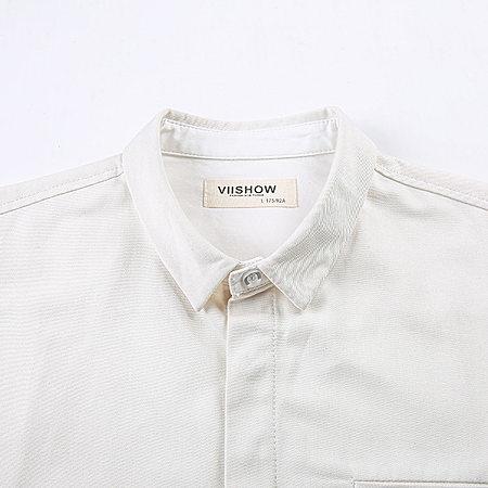 欧美简约纯色衬衫男 修身纯棉衬衣