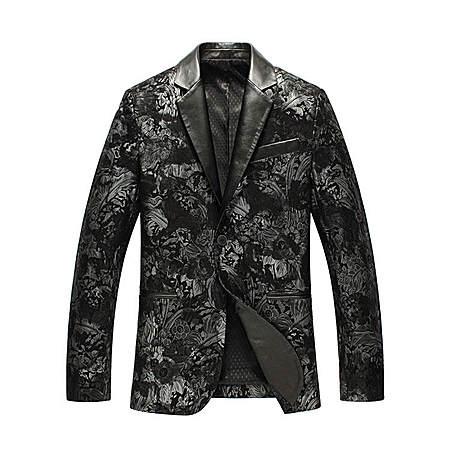 印花款绵羊皮西装外套