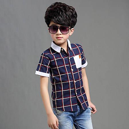 时尚格纹短袖衬衫