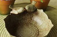 欧式田园陶瓷摆件 家居饰品摆设 小鸟莲花点心盘