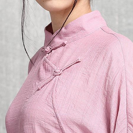 唐装立领斜襟盘扣中长款七分袖侧开中国风汉服女