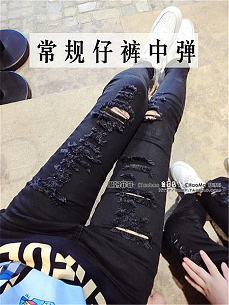 亲子裤显瘦破洞弹力牛仔裤版型超好