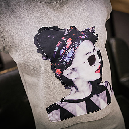 女装圆领无袖美女贴布T恤流苏两件套连衣裙