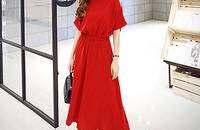 韩版圆领蝙蝠短袖松紧腰纯色连衣裙