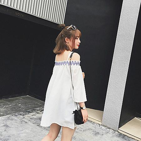 小范儿2016韩版一字肩吊带宽松棉麻小清新上衣女