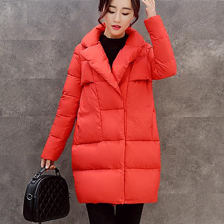 款冬季韩版时尚女装棉衣修身中长款加厚棉服女