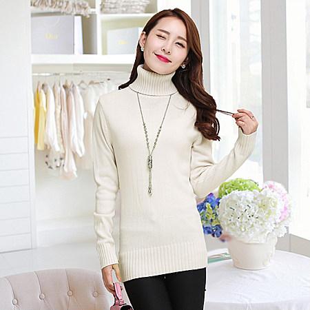 女装高领毛衣女套头加厚韩版修身纯色针织打底衫