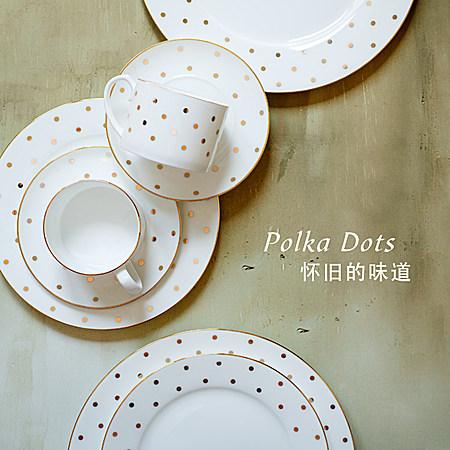 纯金色波点系列骨瓷正餐盘