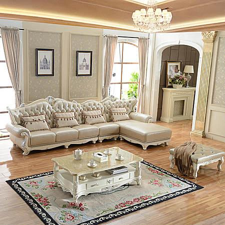 简欧式转角真皮沙发组合实木雕花奢华美式小户型