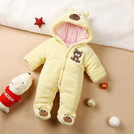 婴儿连体棉衣秋冬装纯棉包脚加厚新生儿外出服