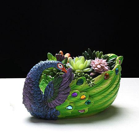 多肉植物花盆拼盘 手绘树脂绿植简约个性创意