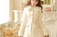 日系甜美單排扣修身毛呢大衣