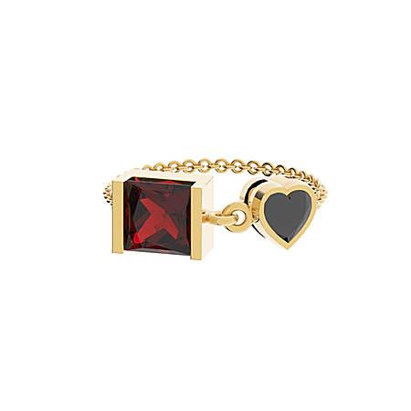 双色爱心链条戒指