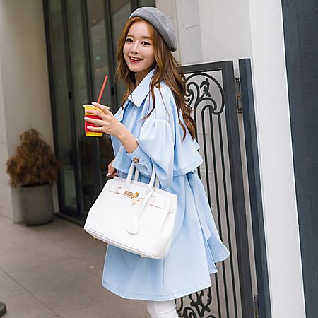 韩版中长款双排扣风衣