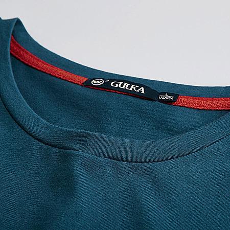 复古黑色圆领纯棉民族风短袖T恤