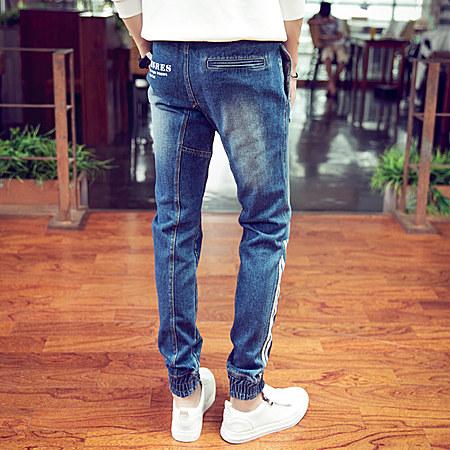 新款韩版男士牛仔裤松紧小脚裤牛仔裤束脚男裤子