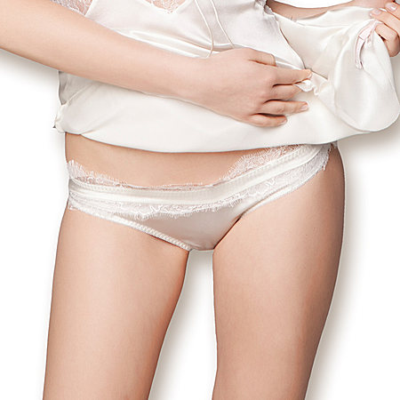 女士桑蚕丝氨纶弹力缎内裤性感蕾丝三角裤