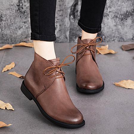 高端手工真皮短靴女头层牛皮女靴子马丁靴