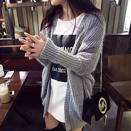 韩版宽松中长款蝙蝠袖针织开衫