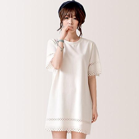 女装 韩版甜美 镂空压花 清新森女 连衣裙
