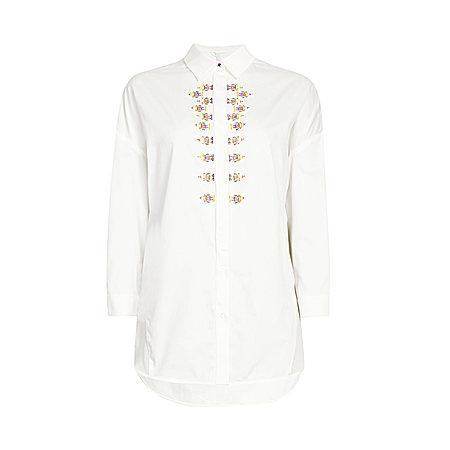 绣花长袖衬衫