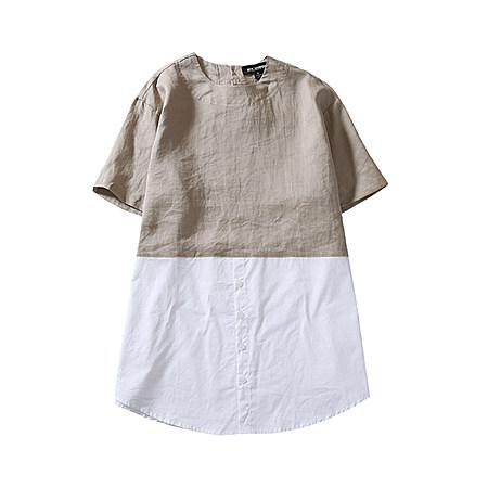 棉麻拼接宽松T恤