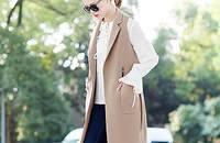 欧美纯色西装领开衫腰带修身马甲