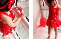 韩女童可爱波点连体裙式奥莉同款温泉婴儿游泳衣
