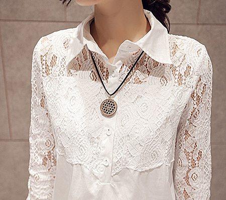 宽松蕾丝衬衣中长款上衣女韩范长袖白衬衣