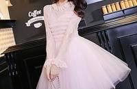 春装新品时尚兔毛蕾丝拼接连衣裙甜美网纱蓬蓬裙
