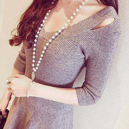 新款优雅气质肩部镂空螺纹针织蓬蓬连衣裙Q9319