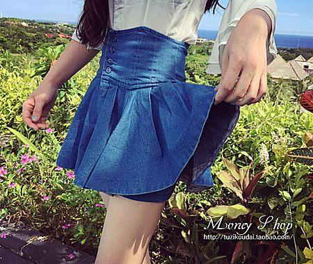 单排扣高腰牛仔裙裤水洗收腰半身裙蓬蓬裙潮