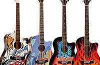 新款迷彩手绘 吉他 儿童成人初学 缺角民谣吉他