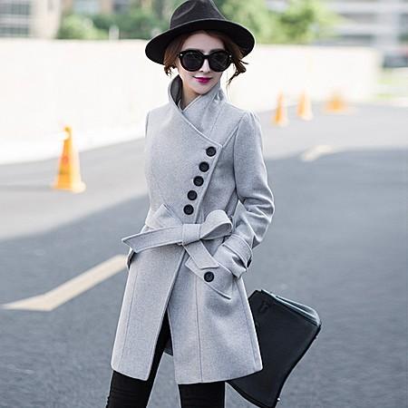 韩版修身显瘦立领收腰中长款毛呢外套呢子大衣女