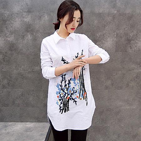 刺绣纯棉长衬衫