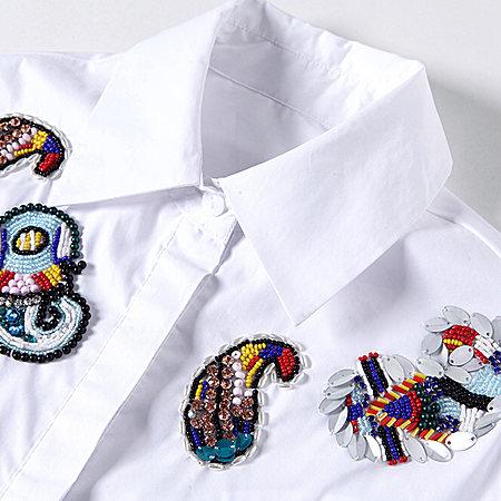翻领刺绣中长款衬衫