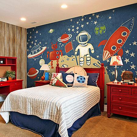 外星探索宇航员 艺术壁纸 超环保儿童房墙纸