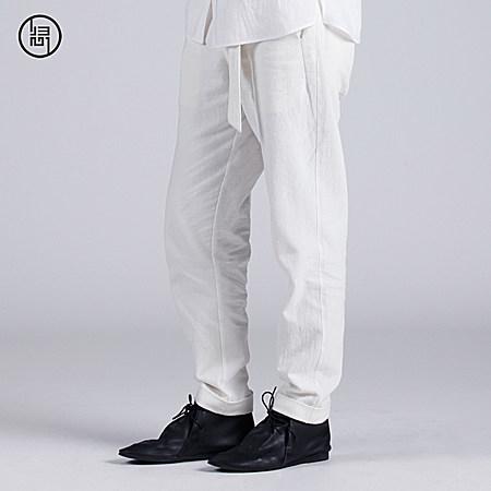 亚麻系带男式长裤
