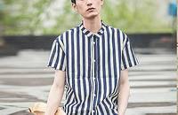 亚麻竖条纹短袖衬衫