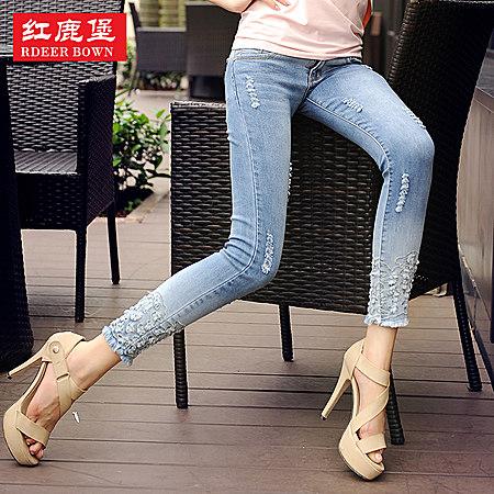 牛仔裤女春夏秋做旧铅笔裤修身显瘦九分裤小脚裤